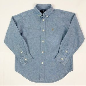 Ralph Lauren Boys Chambray Button Down Shirt Sz 5